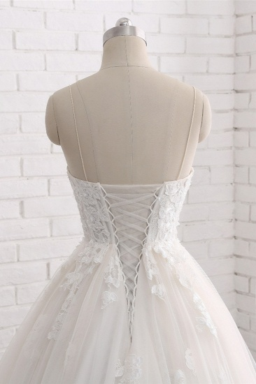 BMbridal Affordable Spaghetti Straps Sleeveless Lace Wedding Dresses A-line Tulle Ruffles Bridal Gowns On Sale_6