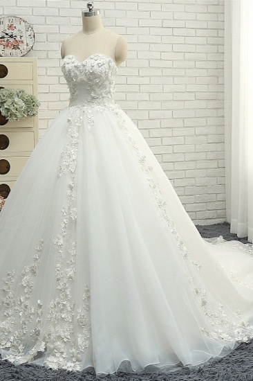 Gorgeous Sweatheart White Wedding Dresses With Appliques A line Tulle Ruffles Bridal Gowns Online_4