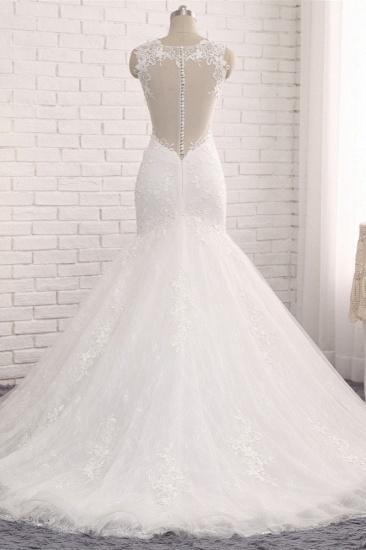 Elegant Straps V-Neck Tulle Lace Mermaid Wedding Dress Appliques Sleeveless Bridal Gowns On Sale_3
