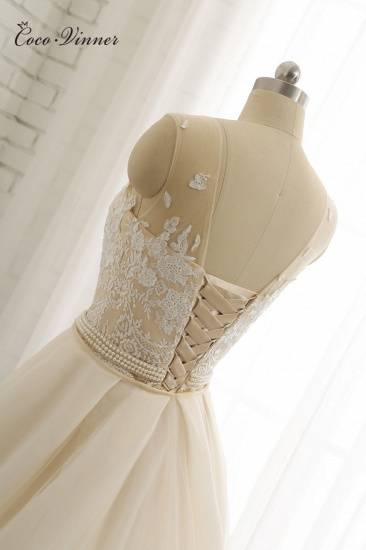 Glamorous Jewel Tulle Champagne Wedding Dress Appliques Sleeveless Overskirt Bridal Gowns with Beading Sash Online_9