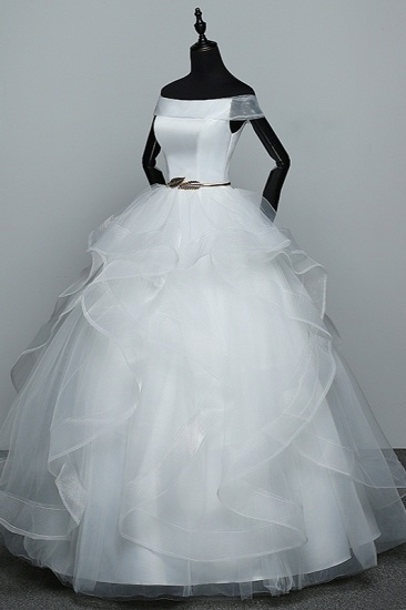 Elegant Off-the-Shoulder Organza Wedding Dress Sleeveless Ruffles Bridal Gowns with Beading Sash_5