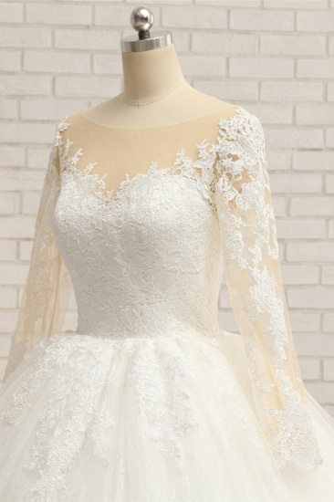 BMbridal Affordable White Tulle Ruffles Wedding Dresses Jewel Longsleeves Lace Bridal Gowns With Appliques Online_5