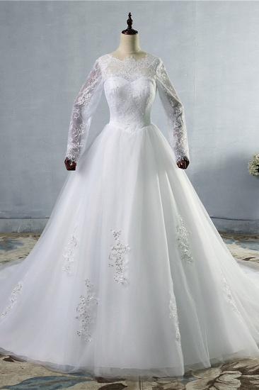 BMbridal Elegant Jewel Tulle Lace Wedding Dress Long Sleeves Appliques Sequins Bridal Gowns On Sale_1