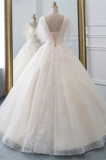 BMbridal Gorgeous Ball Gown V-Neck Tulle Beadings Wedding Dress Rhinestones Appliques Bridal Gowns with Short Sleeves On Sale_3