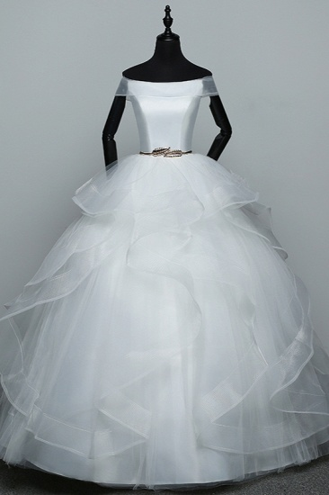 Elegant Off-the-Shoulder Organza Wedding Dress Sleeveless Ruffles Bridal Gowns with Beading Sash_1