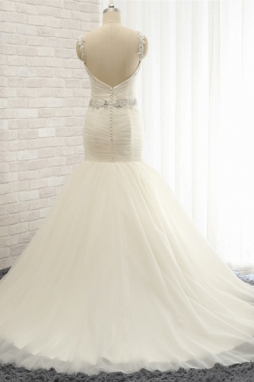 Unique Ivory Straps Mermaid Wedding Dresses Tulle Ruffles Sequins Bridal Gowns Online_3