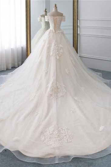 Affordable Off-the-Shoulder White Tulle Lace Wedding Dress Sweetheart Appliques Bridal Gowns On Sale_3