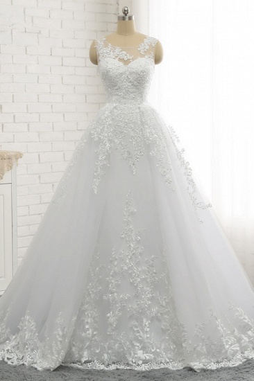Chic A-Line Jewel Tulle Lace Wedding Dress Sleeveless Appliques Bridal Gowns with Beadings Online_1