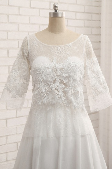 Modest Halfsleeves White Jewel Wedding Dresses Chiffon Lace Bridal Gowns With Appliques On Sale_5