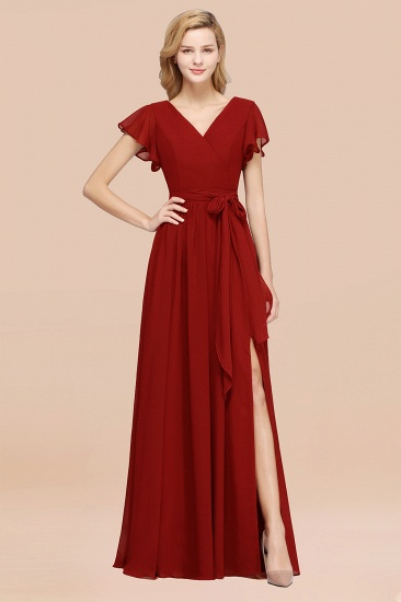 BMbridal Burgundy V-Neck Long Bridesmaid Dress With Short-Sleeves_48