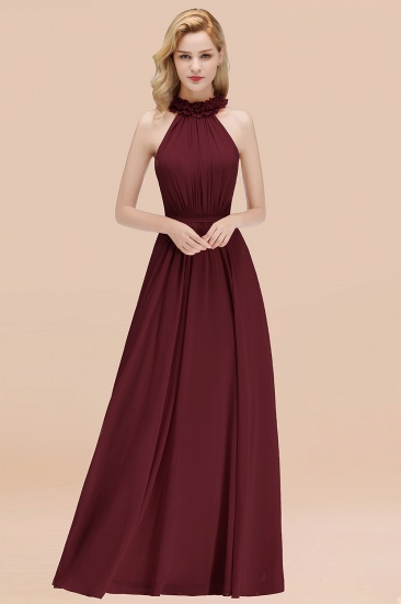 Modest High-Neck Halter Ruffle Chiffon Bridesmaid Dresses Affordable_10