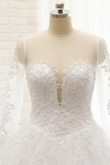 Stylish Longsleeves A line Lace Wedding Dresses Tulle Ruffles Bridal Gowns With Appliques Online_4