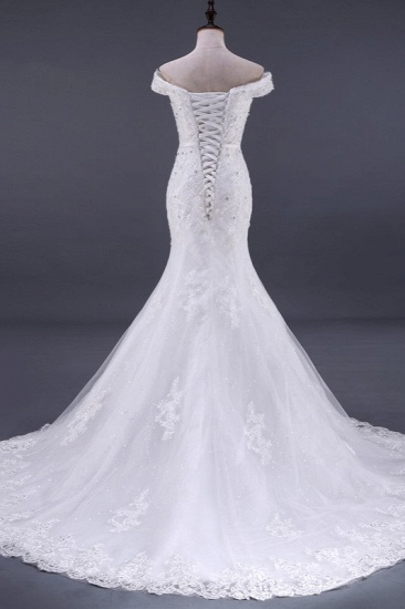 BMbridal Elegant Mermaid Off-the-Shoulder White Wedding Dress Sweetheart Sleeveless Lace Appliques Bridal Gowns with Rhinestones_3