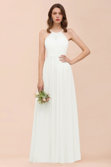 BMbridal Gorgeous Chiffon Halter Ruffle Affordable Long Bridesmaid Dress_2