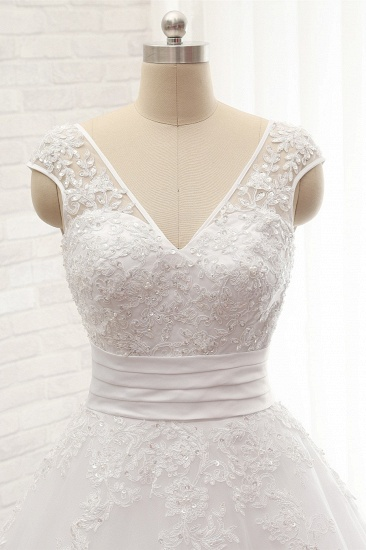 Affordable V-Neck Tulle Lace Wedding Dress A-Line Sleeveless Appliques Bridal Gowns with Beadings Online_5
