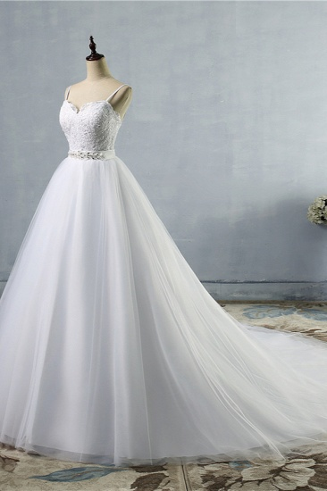 BMbridal Elegant Spaghetti Straps Sweetheart Wedding Dress White Tulle Appliques Bridal Gowns with Beadings Sash_4