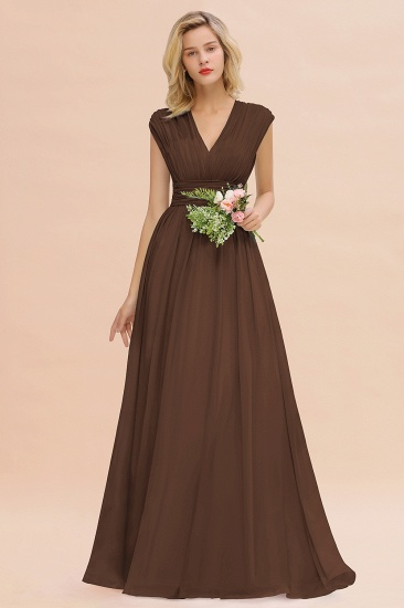 Elegant Chiffon V-Neck Ruffle Long Bridesmaid Dresses Affordable_12