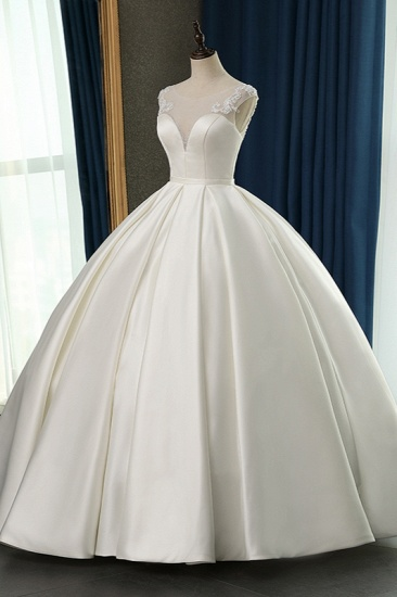 BMbridal Chic Satin Ball Gown Jewel Wedding Dress Sleeveless Appliques Ruffles Bridal Gowns On Sale_4
