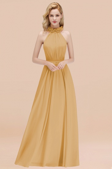 Modest High-Neck Halter Ruffle Chiffon Bridesmaid Dresses Affordable_13