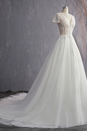 BMbridal Affordable V-Neck White Tulle Wedding Dress Short Sleeves Lace Appliques Bridal Gowns with Beadings_5