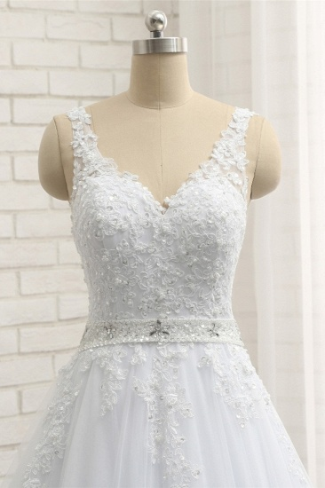 Stunning Straps V-Neck Tulle Appliques Wedding Dress Lace Sleeveless Bridal Gowns with Beadings Online_5