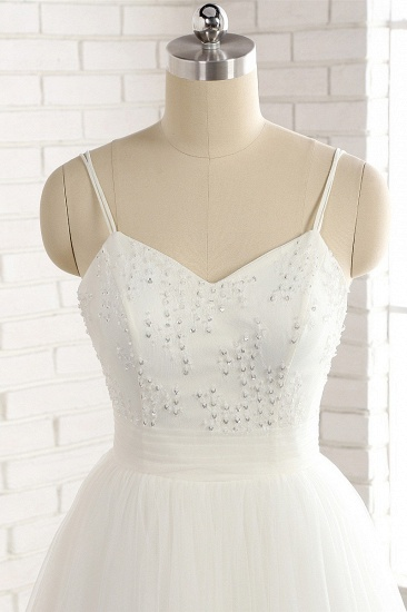 Affordable Spaghetti Straps White Wedding Dresses A-line Tulle Ruffles Bridal Gowns On Sale_5