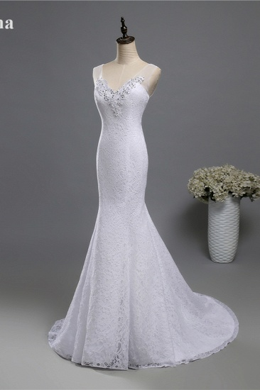 BMbridal Stylish V-Neck White Lace Mermaid Wedding Dress Appliques Sleeveless Sequins Bridal Gowns_4