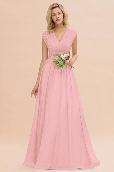 Elegant Chiffon V-Neck Ruffle Long Bridesmaid Dresses Affordable_4