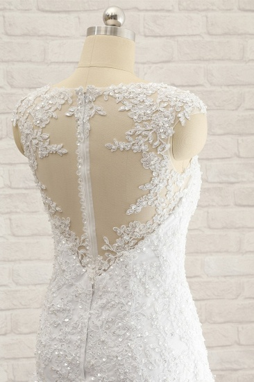 Modest Sleeveless Jewel Wedding Dresses With Appliques White Mermaid Bridal Gowns On Sale_6