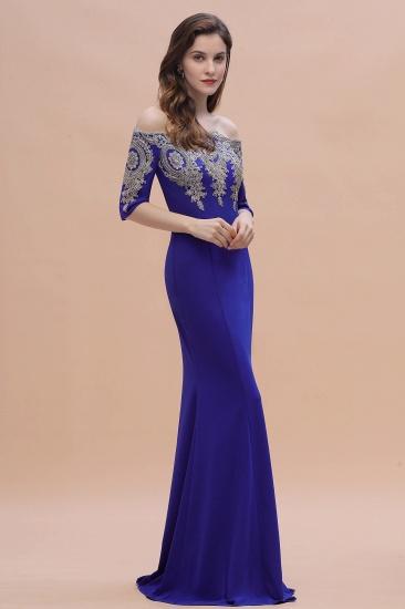 BMbridal Mermaid Off-Shoulder Chiffon Lace Half Sleeve Evening Dress_9
