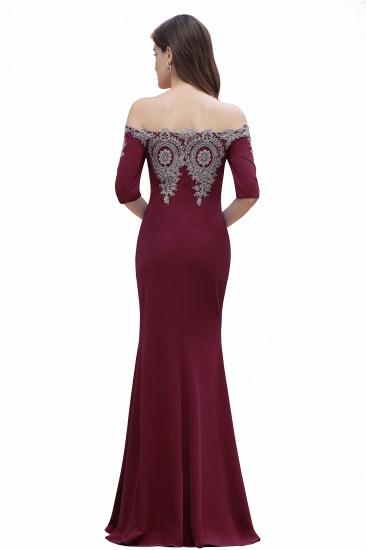 BMbridal Mermaid Off-Shoulder Chiffon Lace Half Sleeve Evening Dress_14