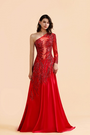 BMbridal Chic One-Shoulder Red Sequined Prom Dresses One-Sleeve Sexy Party Dress On Sale_5