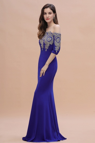 BMbridal Mermaid Off-Shoulder Chiffon Lace Half Sleeve Evening Dress_12