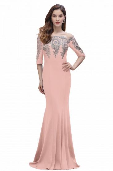 BMbridal Mermaid Off-Shoulder Chiffon Lace Half Sleeve Evening Dress_2
