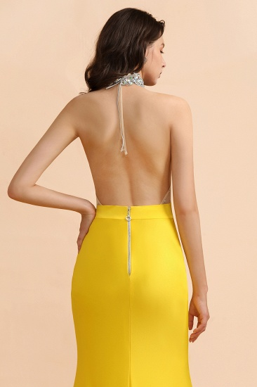 BMbridal Sexy Yellow Halter Backless Prom Dress Long Mermaid With Crystals_10