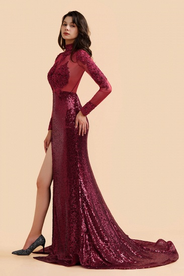 BMbridal Sexy High-Neck Burgundy Sequined Slit Prom Dresses Long Sleeves Appliques Backless Formal Dress with Sheer Top_5