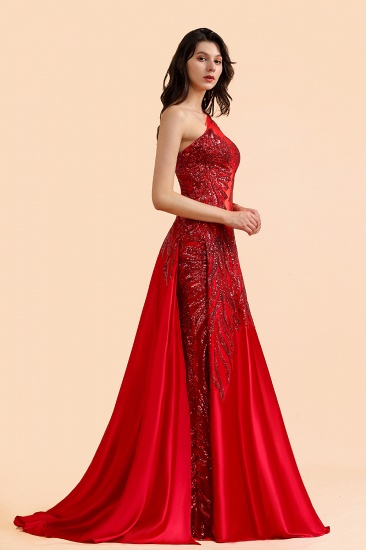 BMbridal Chic One-Shoulder Red Sequined Prom Dresses One-Sleeve Sexy Party Dress On Sale_6
