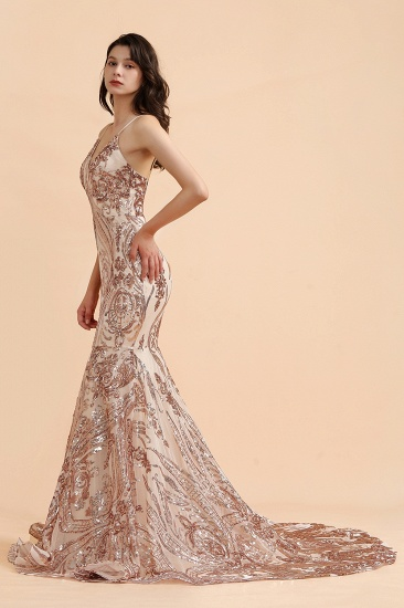 BMbridal Sexy V-Neck Rose Gold Prom Dress Mermaid Long Sequins Evening Party Gowns_8