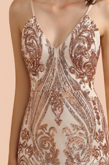 BMbridal Sexy V-Neck Rose Gold Prom Dress Mermaid Long Sequins Evening Party Gowns_10
