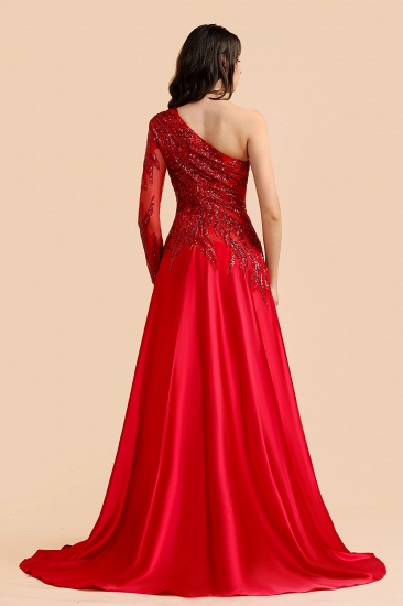 BMbridal Chic One-Shoulder Red Sequined Prom Dresses One-Sleeve Sexy Party Dress On Sale_3