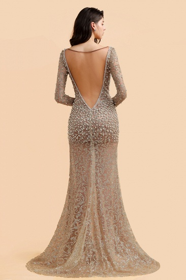 BMbridal Glamorous Jewel Lace Front Slit Prom Dresses Long Sleeves Appliques Formal Dresses with Pearls_3