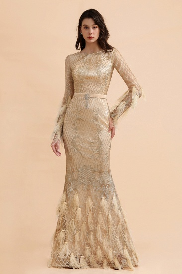 BMbridal Glamorous Jewel Lace Appliques Prom Dresses Long Sleeves Mermaid Formal Dresses with Fur_1
