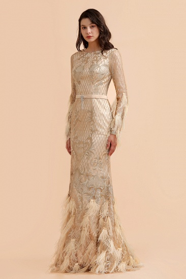 BMbridal Glamorous Jewel Lace Appliques Prom Dresses Long Sleeves Mermaid Formal Dresses with Fur_6