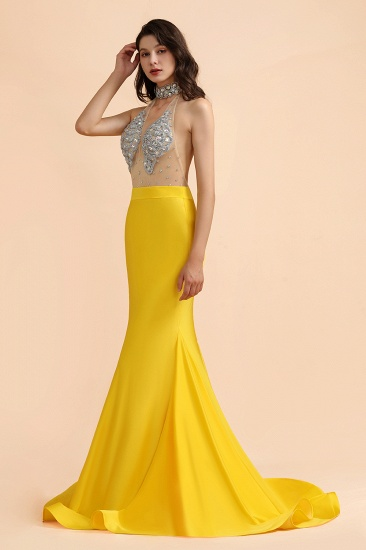 BMbridal Sexy Yellow Halter Backless Prom Dress Long Mermaid With Crystals_7