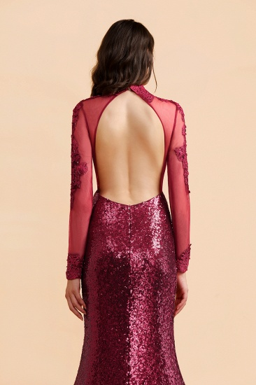 BMbridal Sexy High-Neck Burgundy Sequined Slit Prom Dresses Long Sleeves Appliques Backless Formal Dress with Sheer Top_8