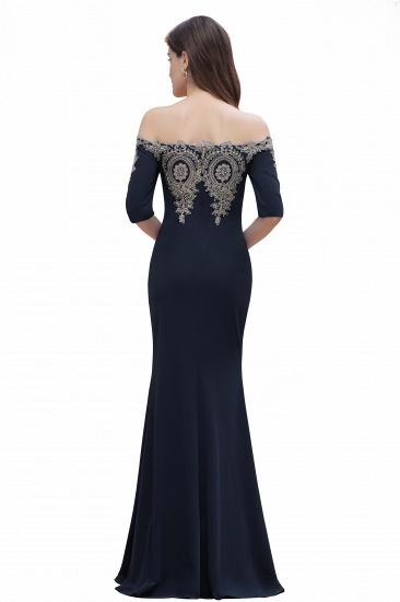 BMbridal Mermaid Off-Shoulder Chiffon Lace Half Sleeve Evening Dress_16