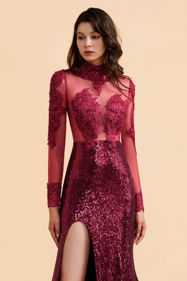 BMbridal Sexy High-Neck Burgundy Sequined Slit Prom Dresses Long Sleeves Appliques Backless Formal Dress with Sheer Top_6
