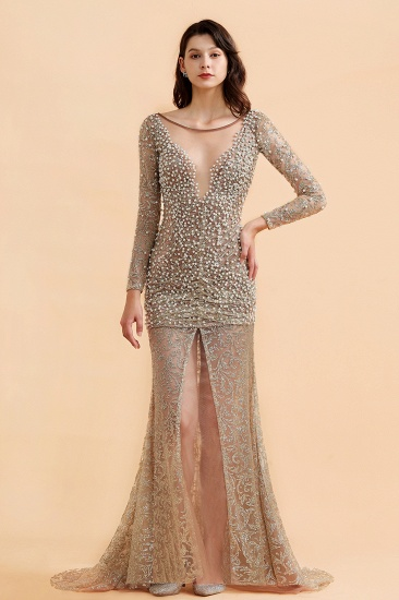 BMbridal Glamorous Jewel Lace Front Slit Prom Dresses Long Sleeves Appliques Formal Dresses with Pearls_2