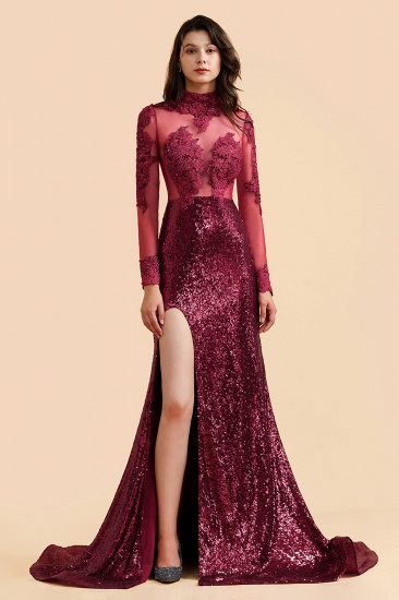 BMbridal Sexy High-Neck Burgundy Sequined Slit Prom Dresses Long Sleeves Appliques Backless Formal Dress with Sheer Top_1