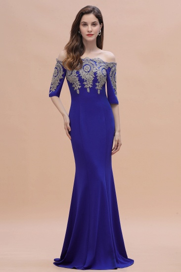 BMbridal Mermaid Off-Shoulder Chiffon Lace Half Sleeve Evening Dress_8